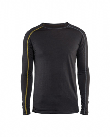 Blaklader 4799 Underwear Top XLIGHT 100% Merino  (Dark Grey/Yellow)